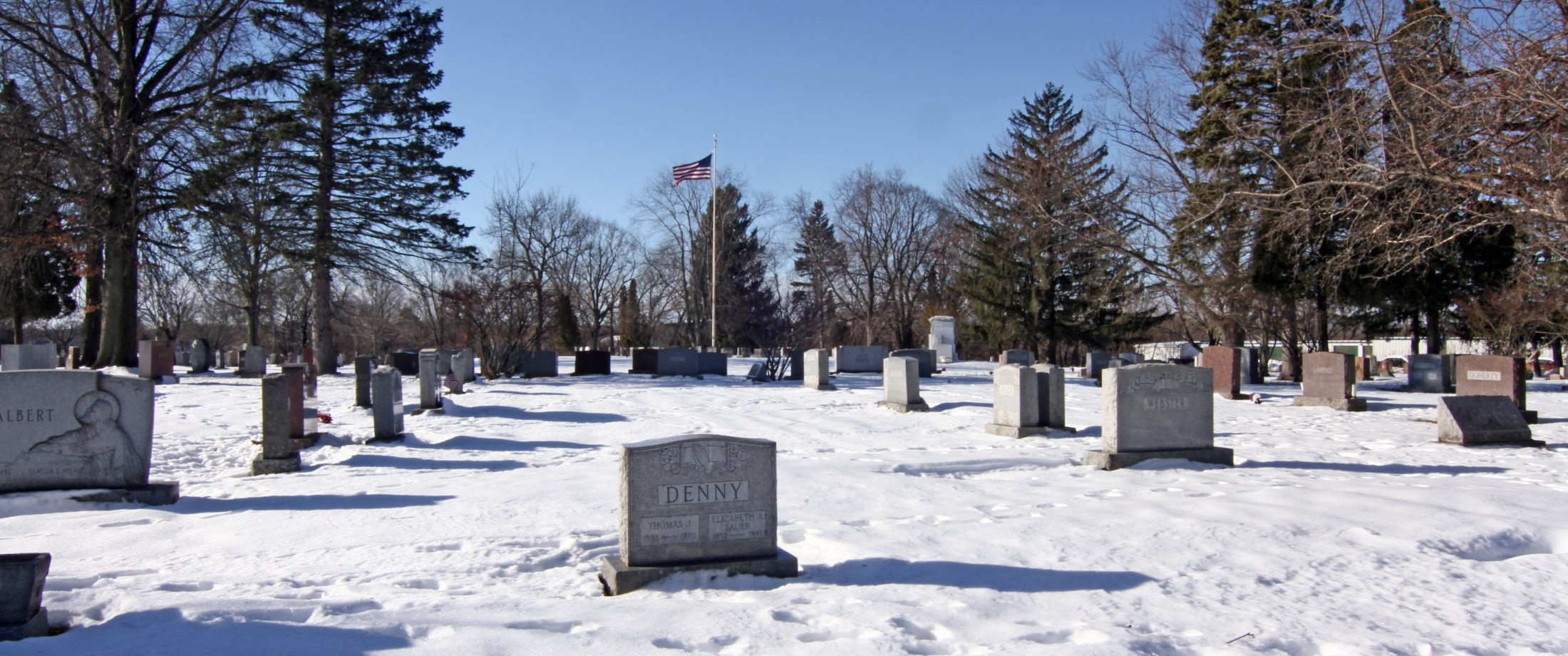 Graceland Cemetery with Flag in the Winter